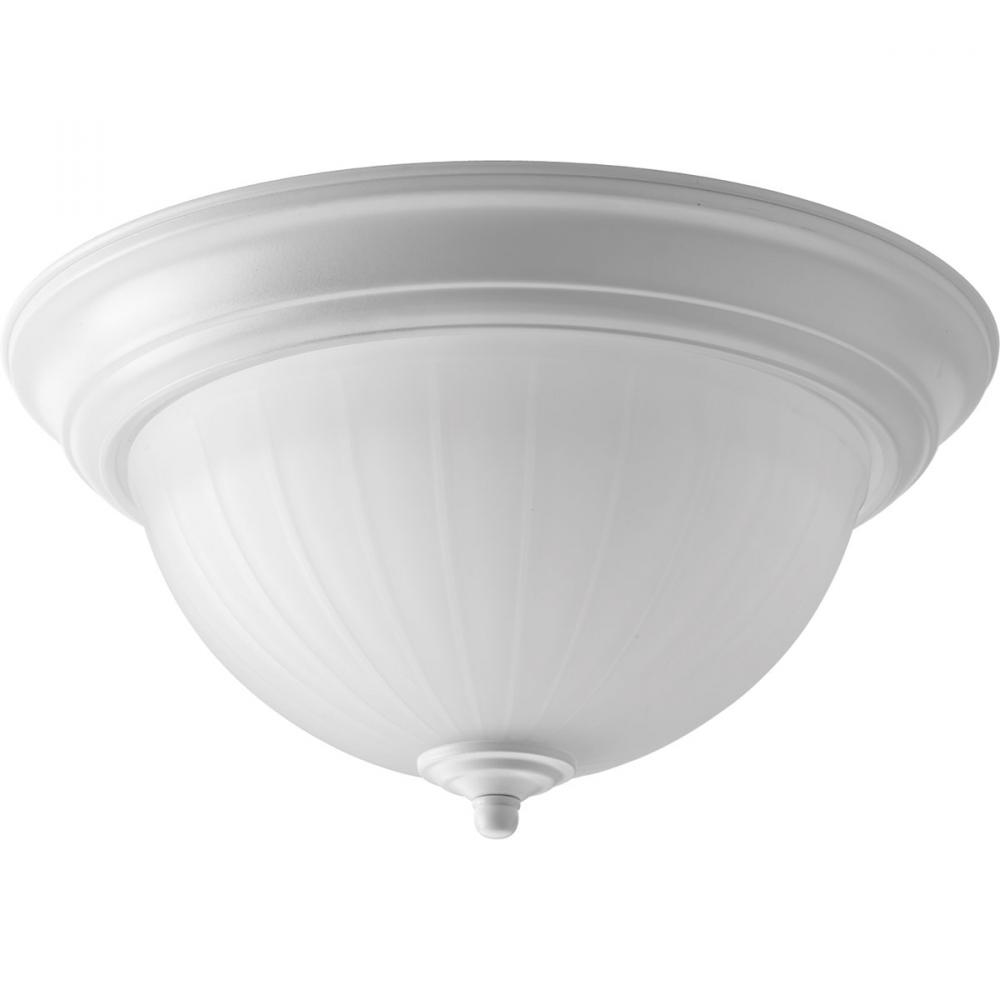 One Light White Frosted Glass Bowl Flush Mount