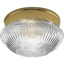 Progress P3405-10 - One Light Polished Brass Clear Prismatic Glass Mushroom Flush Mount