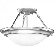 Progress P3567-13 - Two Light Brushed Steel Bowl Semi-Flush Mount