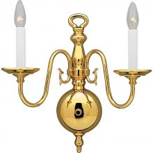 Progress P3802-10 - Two Light Polished Brass White Finish Candle Sleeves Glass Wall Light