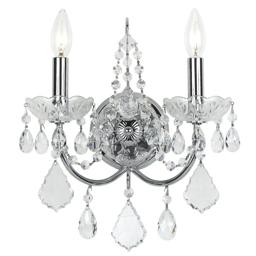 Crystorama Imperial 2 Light Clear Crystal Chrome Sconce