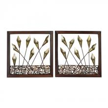 Sterling Industries 138-012/S2 - Delph-Set Of 2 Framed Metal Tulip Wall Panels