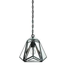 Eurofase Online 31644-013 - Glacier Hand Crafted Prism Lantern, Tiffany Glass Shade, Hand Crafted Bronze Frame, 1 A19 Light Bulb
