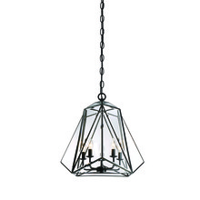 Eurofase Online 31646-017 - Glacier Hand Crafted Prism Lantern, Tiffany Glass Shade, Hand Crafted Bronze Frame, 5 B10 Light Bulb