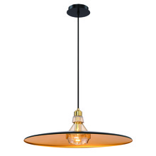 Eurofase Online 31866-026 - Legend Polished Metal Light Pendant with Crystal Detail, Gold Finish, Black with Gold Inside Shade,