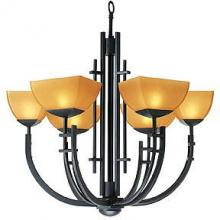 Access 26126-ABRZ/AMB - Six Light Amber Glass Antique Bronze Up Chandelier