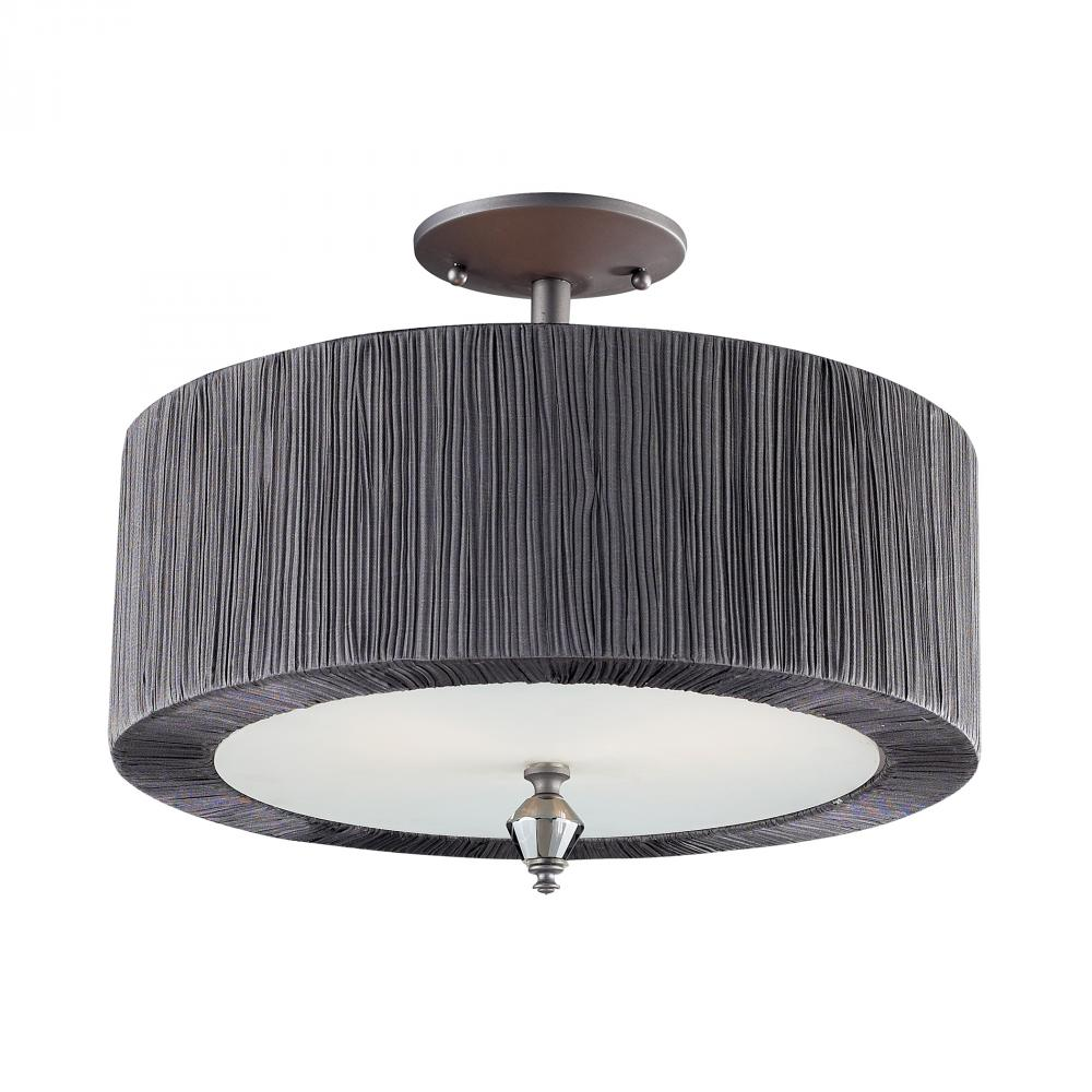 Two light black drum shade semi flush mount 113212 fox lighting two light black drum shade semi flush mount arubaitofo Images